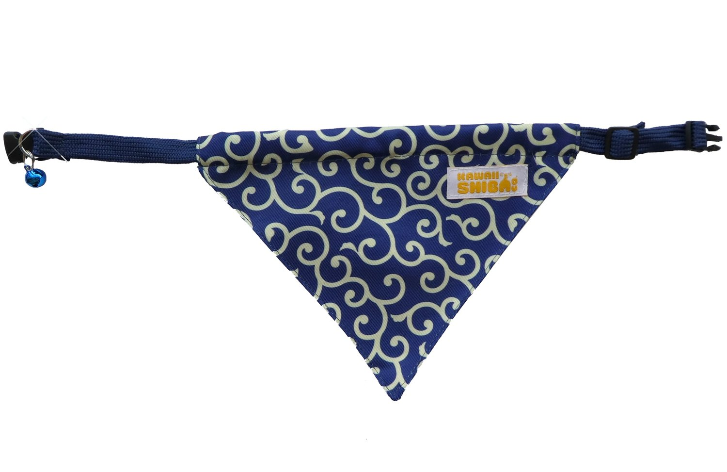 Kawaii Shiba Co. Blue Karakusa Japanese Shiba Inu Dog Bandana With Adjustable Collar