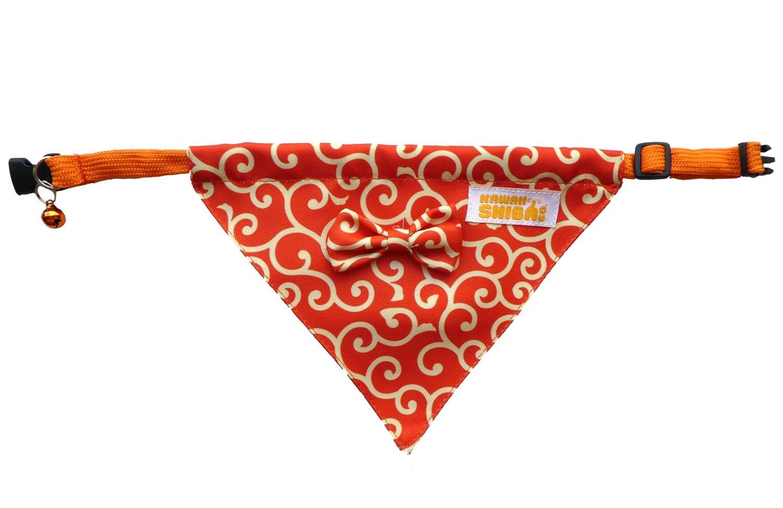 Kawaii Shiba Co. Orange Karakusa Japanese Shiba Inu Dog Bandana With Adjustable Collar