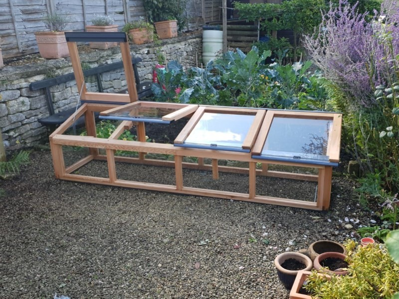 8ft x 2ft Fully Glazed Cedar Coldframe