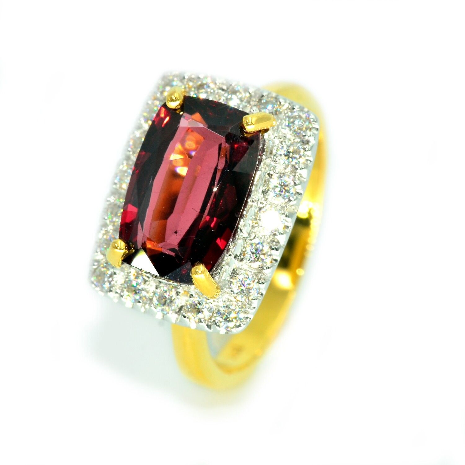 Natural Red Rhodolite Ring 18K. Engagement Ring. Anniversary Gift.