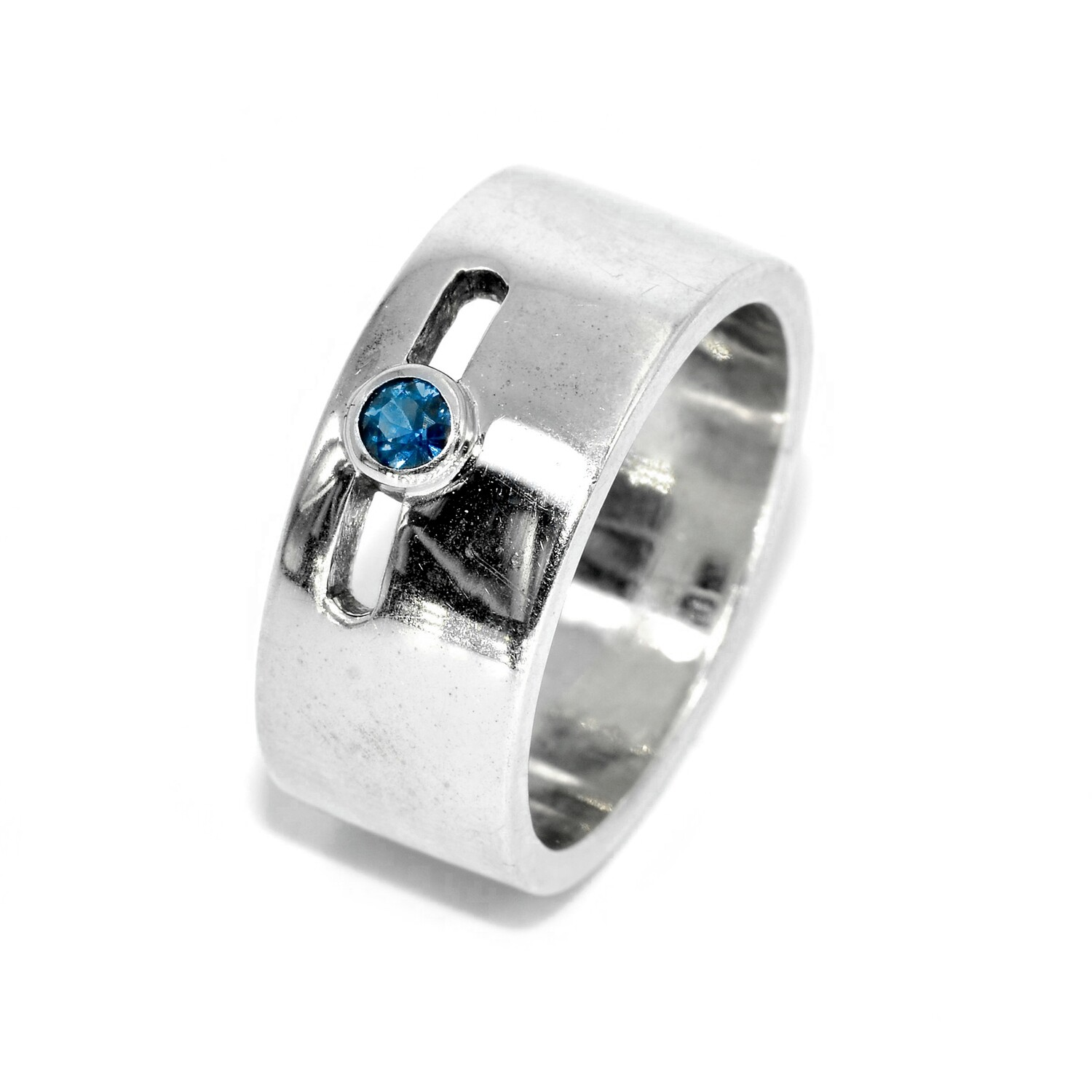 925 Men's Ring with 1 Blue Sapphire - Promise Ring Anniversary