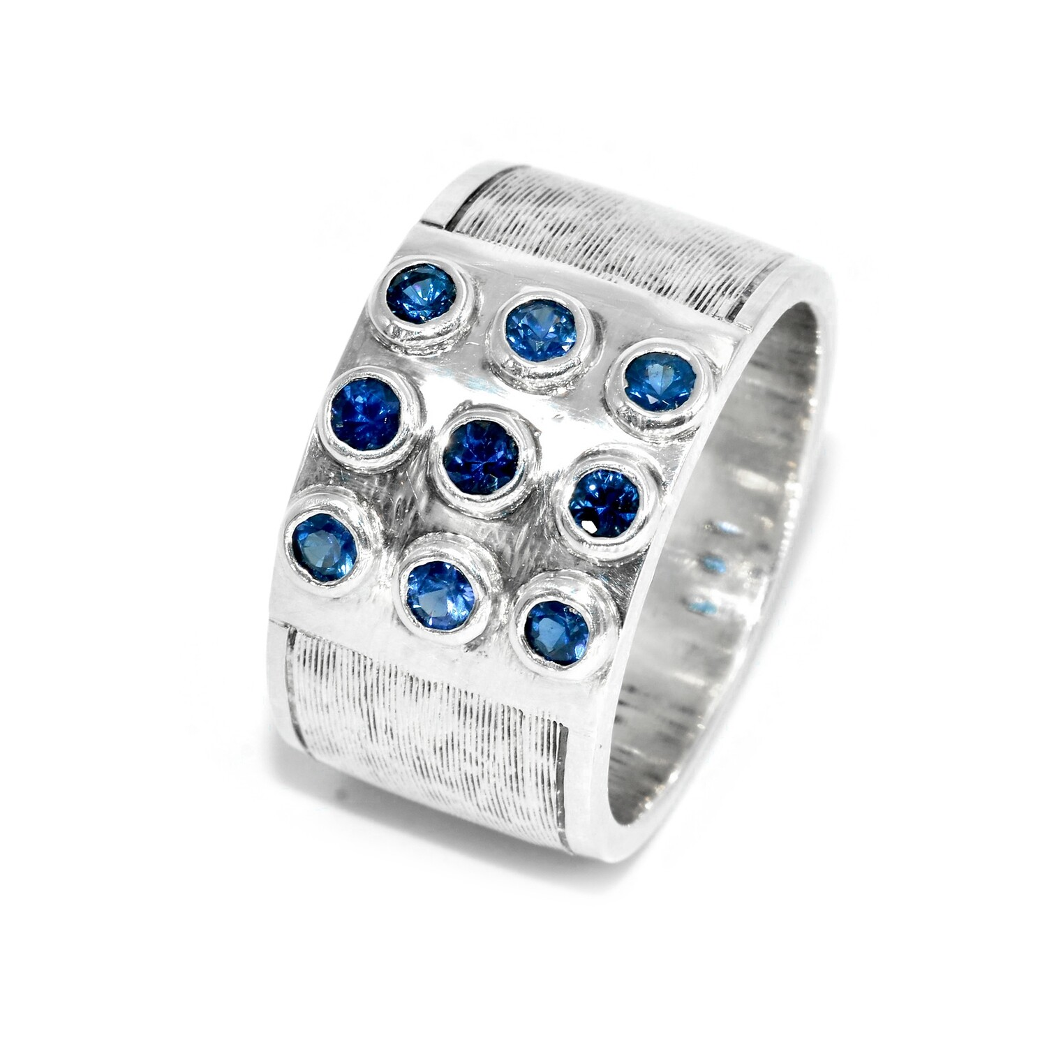 925 Men's Ring with 9 Blue Sapphires
