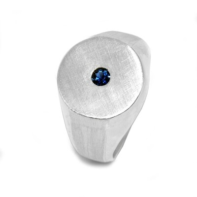 Blue Sapphire Signet Men's Ring 925 Sterling Silver