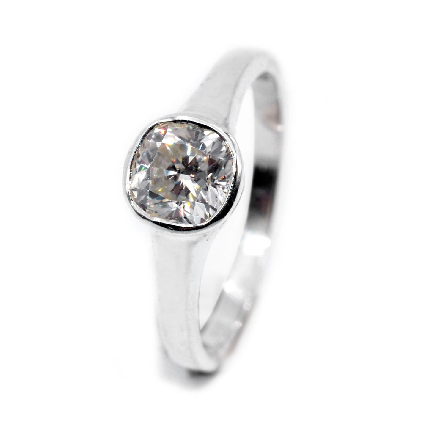 Anniversary Ring Moissanite 1ct Cushion in Sterling Silver