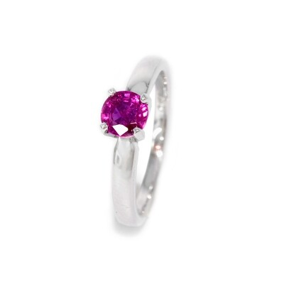 18K Ruby Engagement Ring. Minimalist Design.