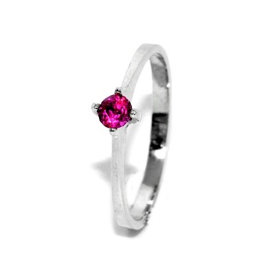 Ruby Solitaire Engagement Ring Sterling Silver July Birthstone