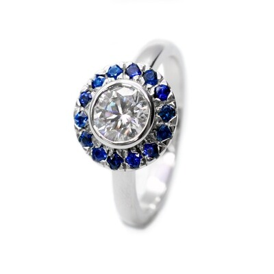 18K Solid Moissanite Engagement Ring 6.00 mm (1.00ct) with Blue Sapphires