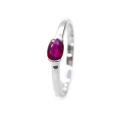18K Solid White Gold Wedding Band with Natural Ruby Handmade