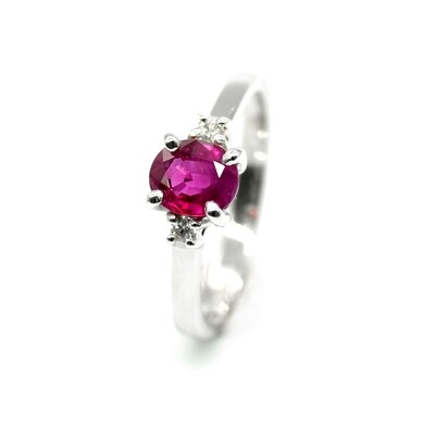 Natural Ruby Rings Engagement Ring with Ruby 18K White Gold Promise Ring gift for her
