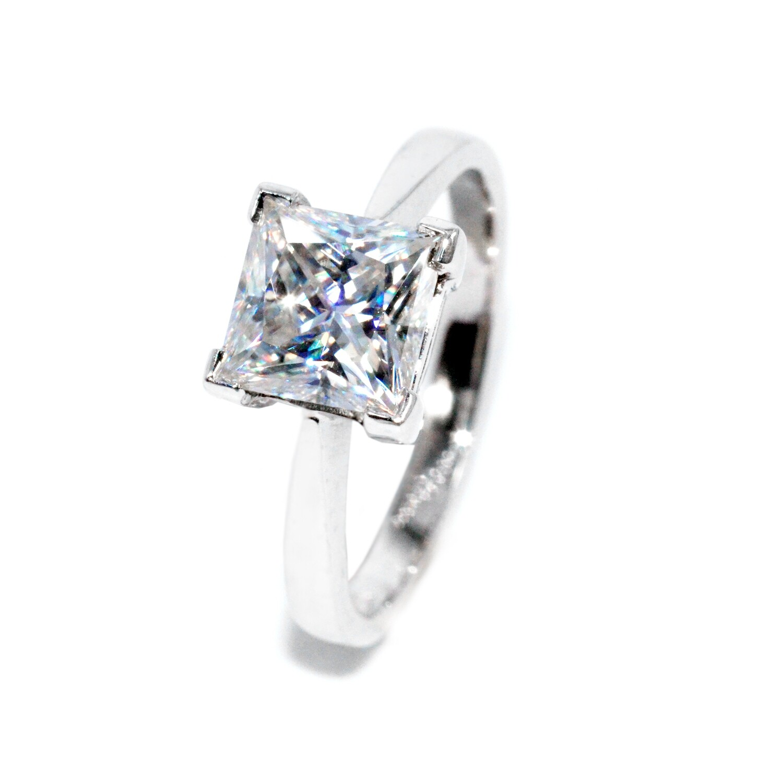 Handmade Moissanite Ring | Solitaire Wedding Ring for Women | 2.00 carat (7x7mm) VVS1 D Princess Cut