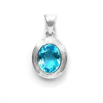Blue Topaz Pendant in 18K White Gold Handmade