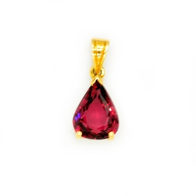 Spinel Yellow Gold 18K Solid Handmade Pendant Red Spinel