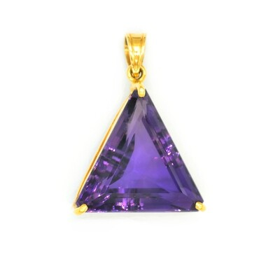 Unique Triangle Shape Amethyst Pendant in 18K Yellow Gold Solid Handmade - High Quality Natural Amethyst Pendant for Gifts
