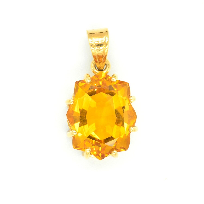 Lovely Large Yellow Topaz Pendant Necklace in 18K Yellow Gold - November Birthstone Pendant - 8.25 carat Yellow Topaz