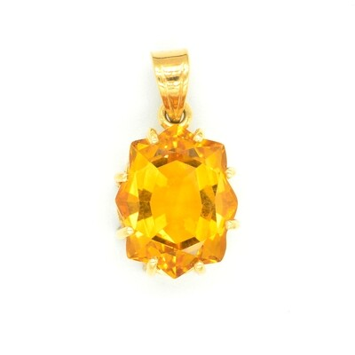 Lovely Large Yellow Topaz Pendant Necklace in 18K Yellow Gold - November Birthstone Pendant - 8.25 carat Yellow Topaz