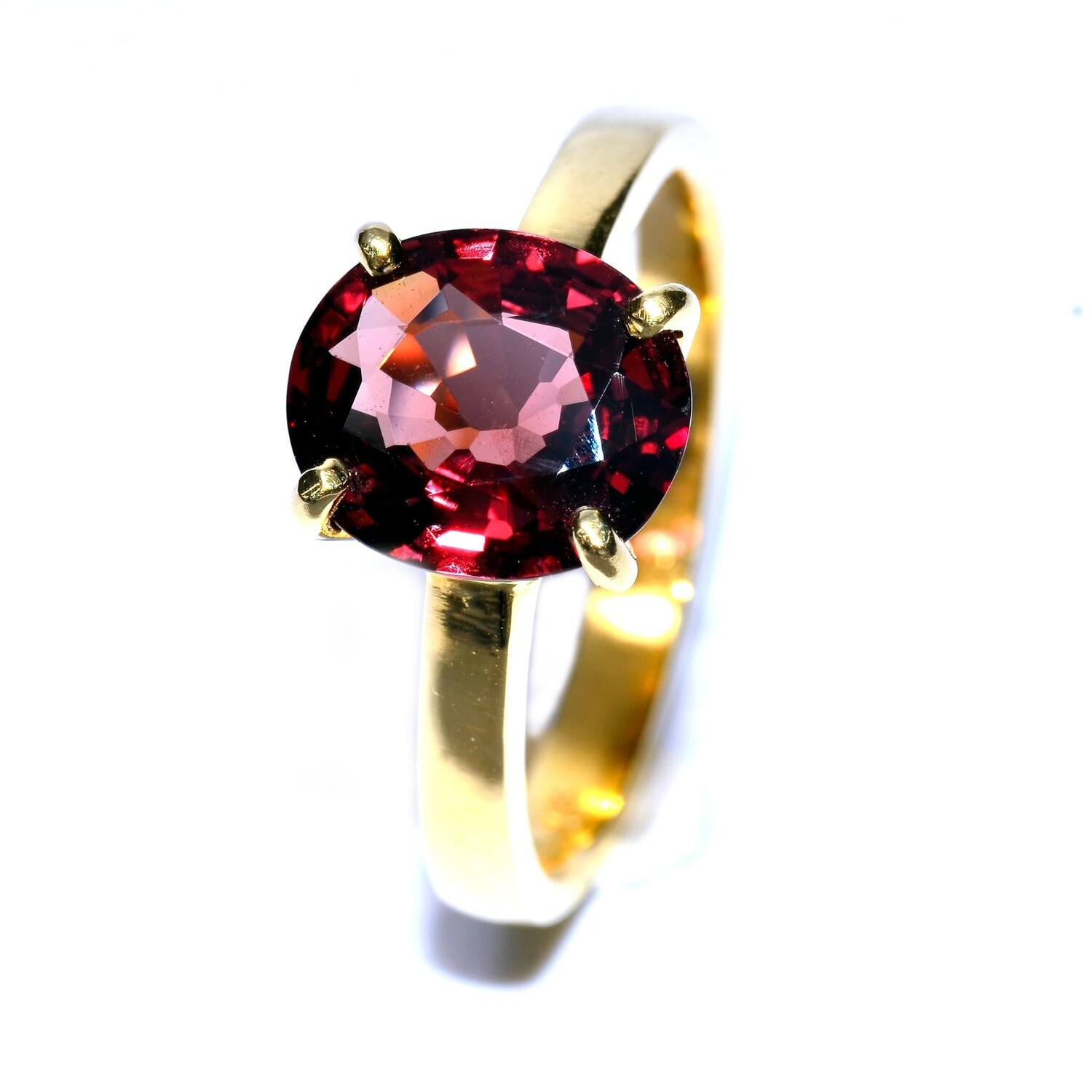 Spinel Ring in 18K Yellow Gold Setting - Red Spinel Engagement Ring Handmade