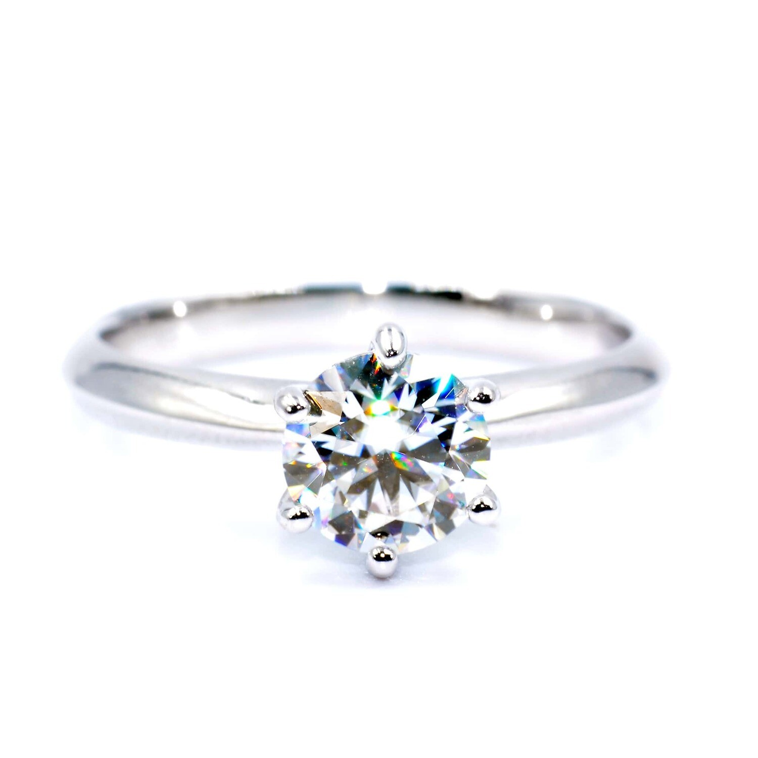 Solitaire Engagement Ring Moissanite 1.00ct 6.5mm D Color 925 Sterling Silver
