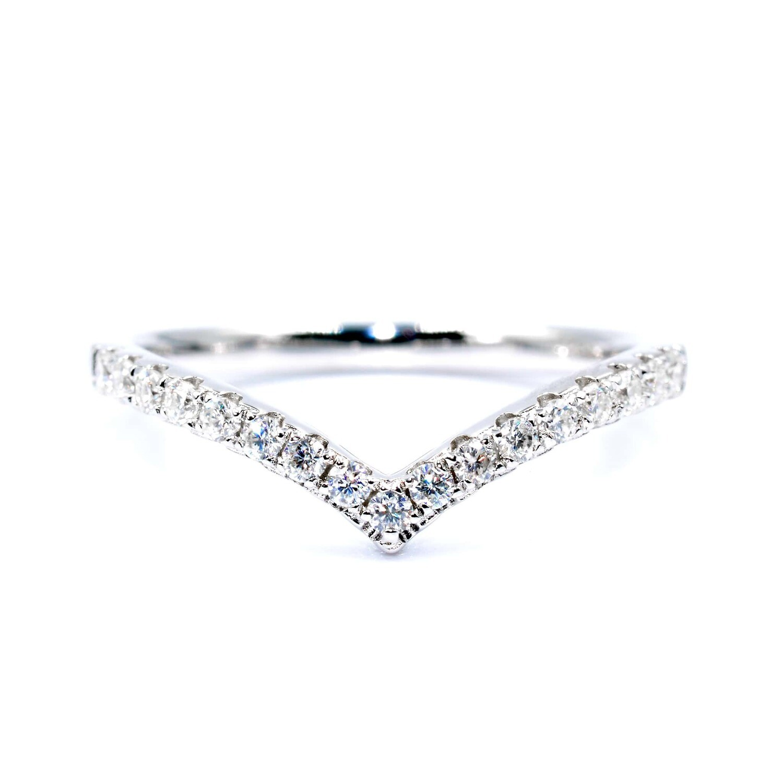 Princess Wishbone Ring Moissanites Sterling Silver