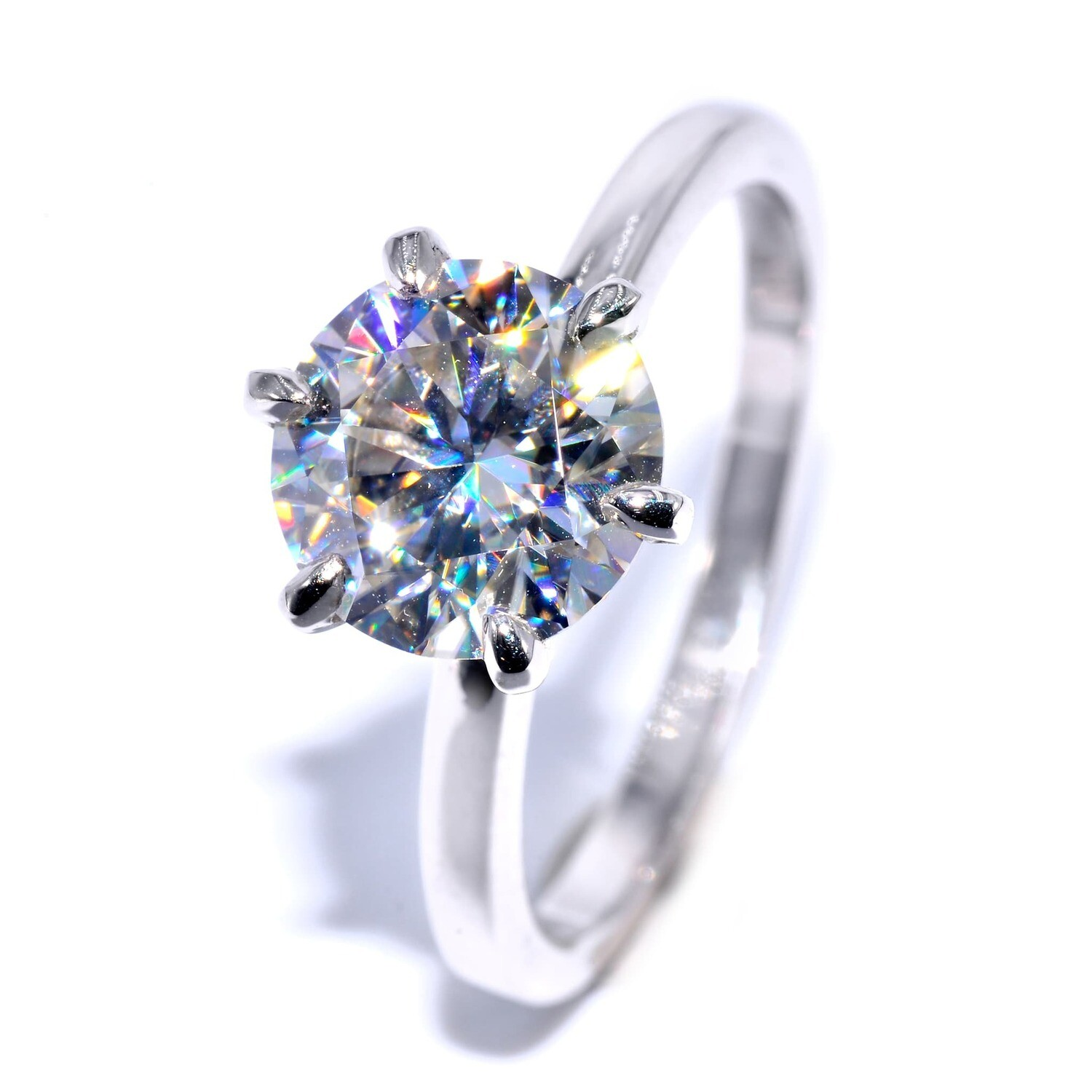 [High Setting] Handmade Moissanite Solitaire Wedding Ring for Women with 2.00 carat (8.5 mm diameter) VVS1 D Brilliant Round Cut
