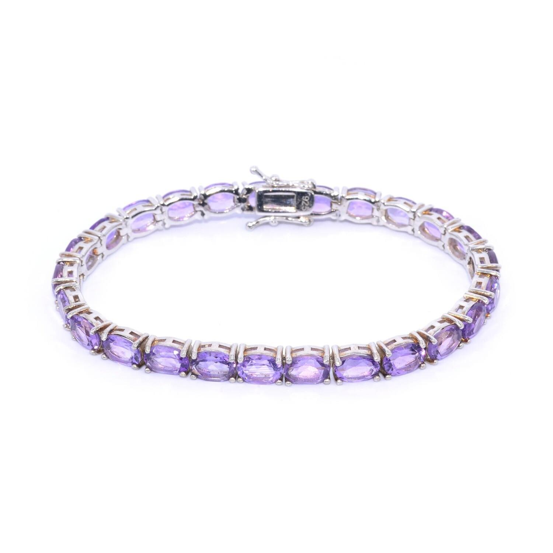 February Birthstone Amethyst Bracelet Sterling Silver