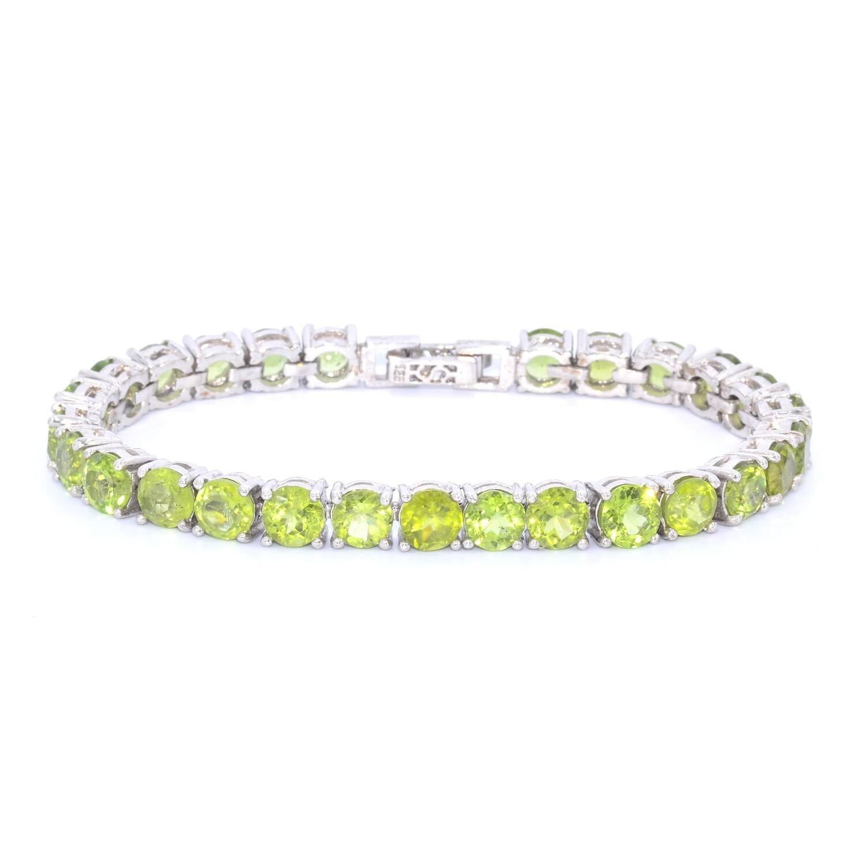 August Birthstone Peridot Bracelet Sterling Silver