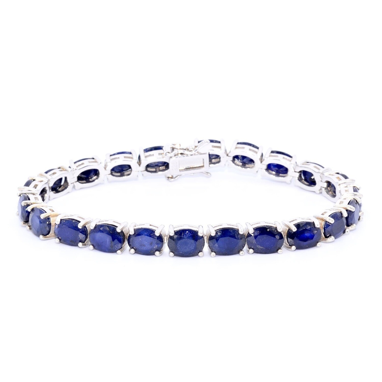 September Birthstone Blue Sapphire Bracelet Sterling Silver