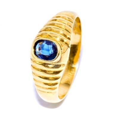 Solid 18K Vivid Blue Sapphire Ring Mens Vintage Style Handmade