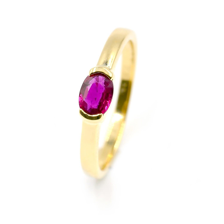 Half Bezeled 18K Yellow Gold Ring with Ruby Handmade Anniversary Gift