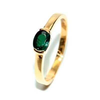 Half Bezel Sapphire/Ruby 18K Gold Engagement Ring