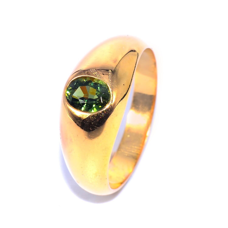 Handmade Bold Flush Ring Level Thai Green Sapphire for Men