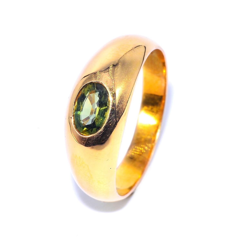 Handmade Bold Flush Ring Upright Thai Green Sapphire for Men
