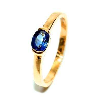 Half bezeled 18K Yellow Gold Ring with Blue Sapphire Handmade Anniversary Gift