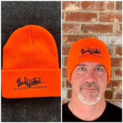 Orange acrylic rib knit hat