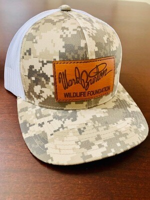 Military green cap with leather patch
