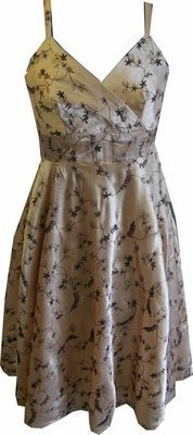 Embroidered Satin Dress