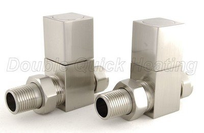 Essential Square Manual Straight Valve in Brushed Nickel finish