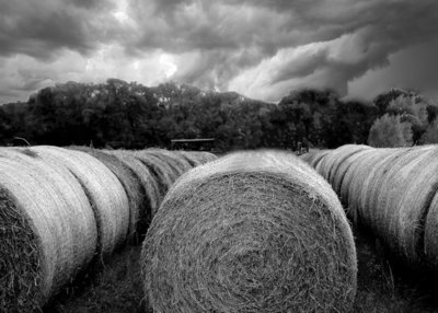 Hay bales and Thunderstorms
