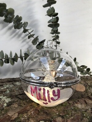 ...glass angel ball...