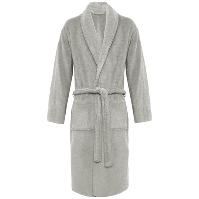 Grey Plush Soft Warm Fleece Unisex Robe