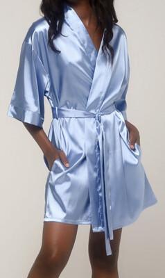 Airy Blue Satin Kimono