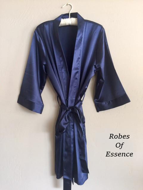 Navy Blue Satin Kimono