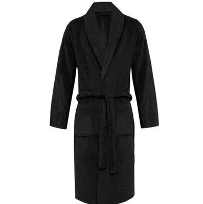Black Plush Soft Warm Fleece Unisex Robe