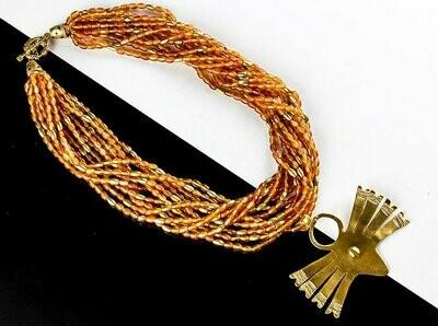 Collar precolombino entrelazado ágata cuentas doradas