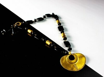 Collar Precolombino de Onix Dije Nariguera Plana