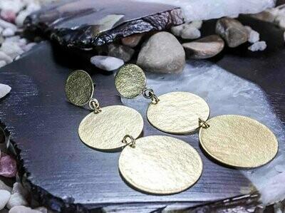 Aretes Colgantes Dorados Largo Monedas
