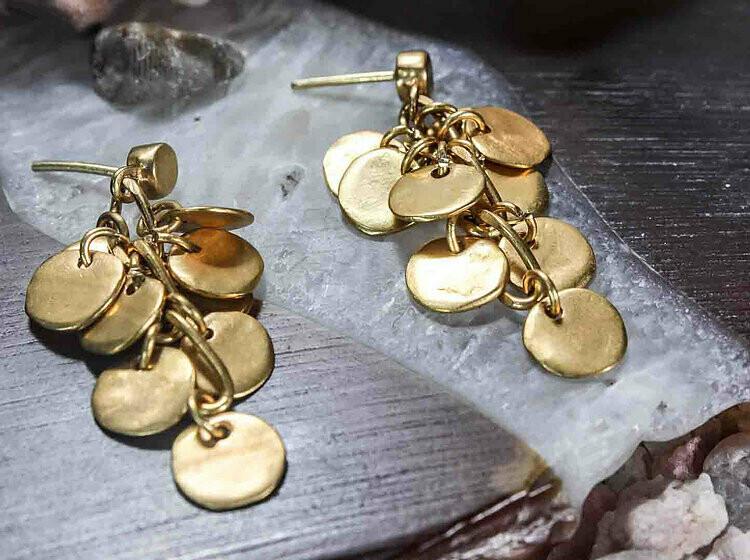 Aretes Dorados Colgante Con Plaquitas