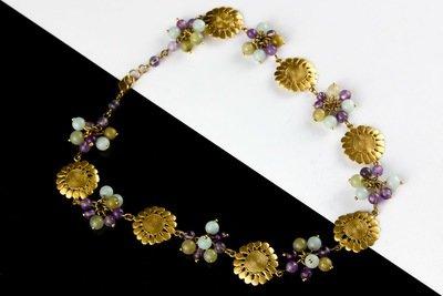 Collar precolombino flores racimos piedras mix