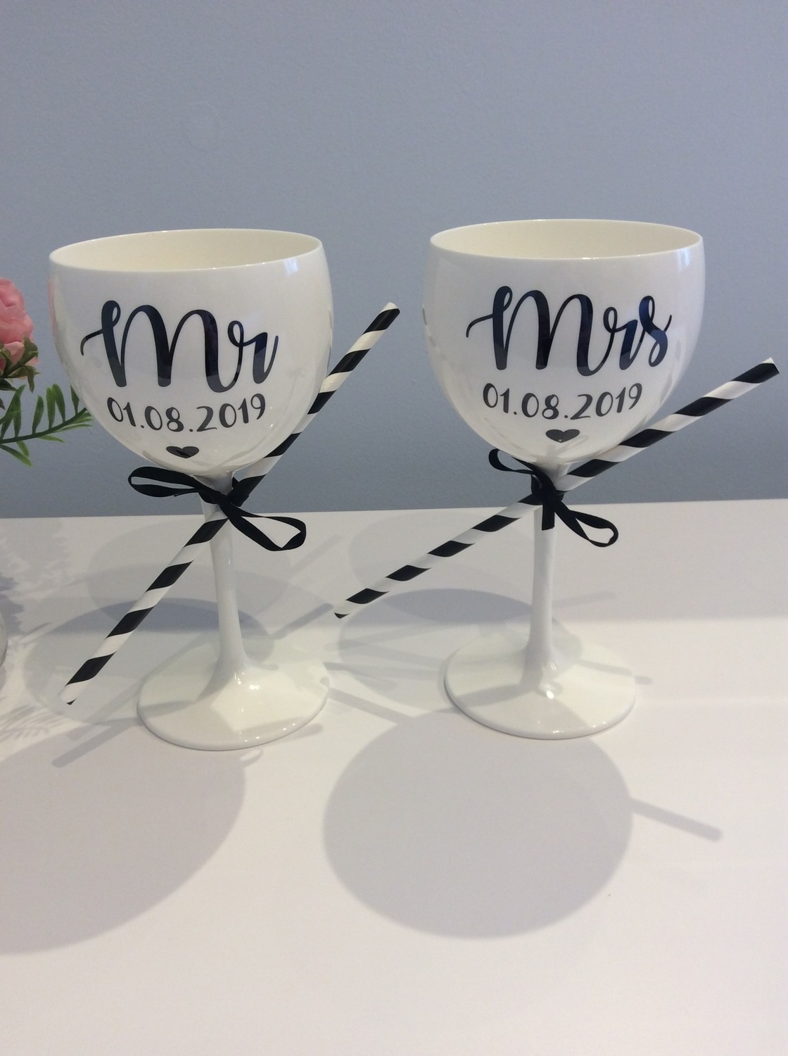 Personalised white gin goblets