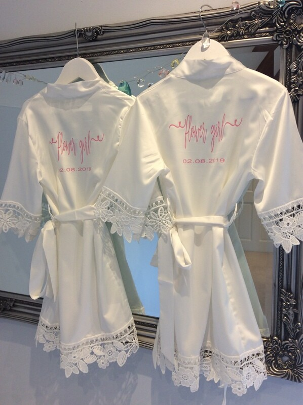 NEW-  children's personalised matte satin lace edged robes