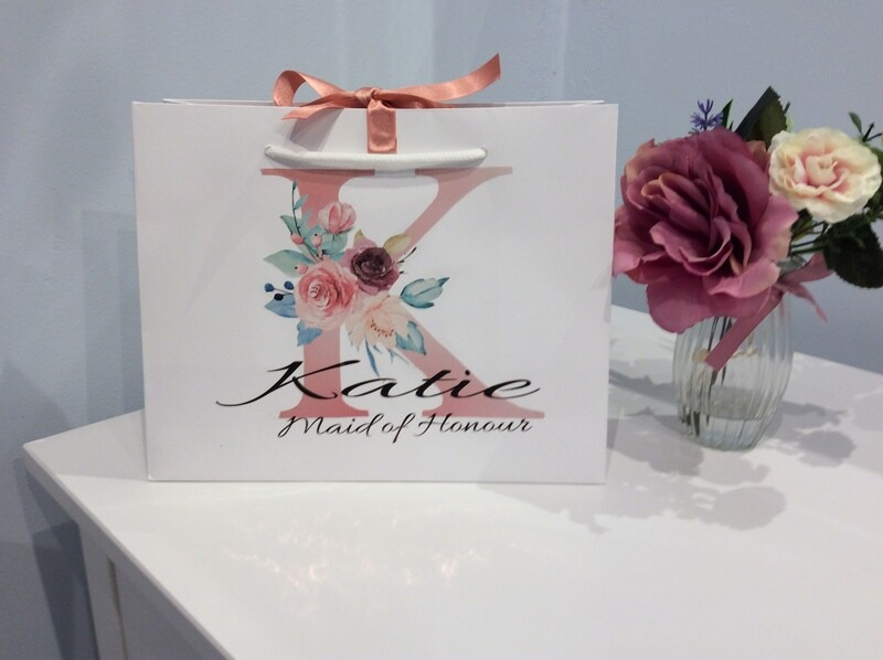 Pink floral initial gift bag